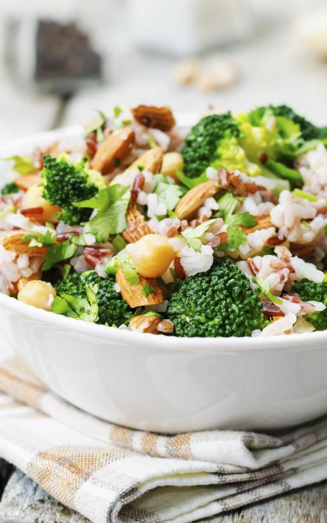broccoli chickpea cilantro almond white and red rice. toning. selective Focus